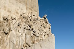 Detail of the Monument of the Discoveries Padrao dos Descobrimentos in the banks of the Tagus River in Lisbon Stock Images