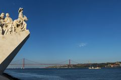 Detail of the Monument of the Discoveries Padrao dos Descobrimentos in the Tagus River in Lisbon, Portugal, with the 25 of April Stock Photo