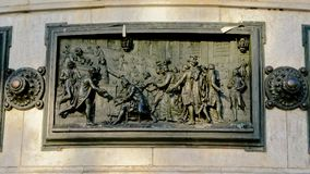 Bronze bas relief, detail of Monument to the republic, Paris France. Detail of Monument to the republic in Paris, France, depicting the abolition of feudalism in Stock Photos