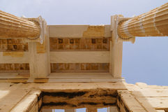 Detail of the monumental gateway of the Propylaea in the Acropol Royalty Free Stock Image
