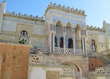 Detail of a moorish style palace. A detail of the Sticchi palace built in moorish style in Santa Cesarea Terme in Puglia in Italy stock photos