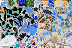 Detail of mosaic in Guell park in Barcelona, Spain Stock Photography