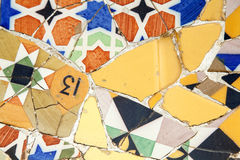 Mosaic at Parc Guell. Detail of mosaic at Parc Guell. Modernism. Barcelona Stock Photo