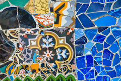 Detail of the mosaics at the Parc Guell Royalty Free Stock Images