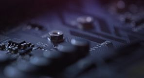 Detail of the motherboard. Focus in movement on motherboard stock footage