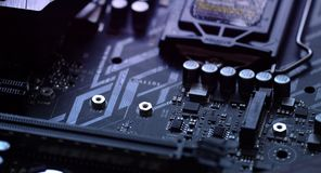 Detail of the motherboard. Motherboard, with focus moving out stock footage