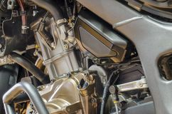 Detail of motorbike engine with crash bar and dismotled bonnet.  stock photo