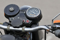 Detail of motorbike in a parking Stock Photo