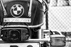 Detail of the motorcycle BMW R75/5 (focus on foreground) Royalty Free Stock Photography
