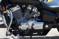 Detail of motorcycle - engine. Its chrome and shiny part Stock Photography