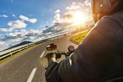 Detail of motorcycle handlebars. Outdoor photography, Alpine lan stock photos