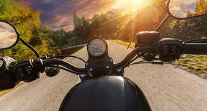 Detail of motorcycle handlebars. Outdoor photography, Alpine lan stock images