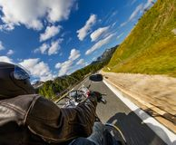 Detail of motorcycle handlebars. Outdoor photography, Alpine lan royalty free stock image