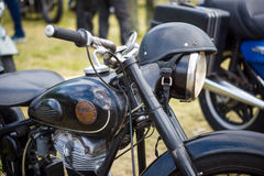 Detail of motorcycle Simson Suhl AWO 425. PAAREN IM GLIEN, GERMANY - MAY 23, 2015: Detail of motorcycle Simson Suhl AWO 425. The oldtimer show in MAFZ royalty free stock image