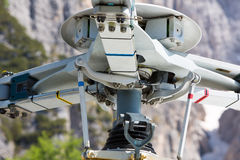 Detail of mountain rescue helicopter in the italian Alps Royalty Free Stock Photo