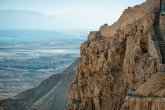 Detail of a mountain and view of the dead sea Stock Photos