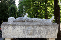 Detail of a mourning sculpture on a Mirogoj cemetery in Zagreb Stock Image