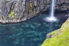 Detail of Mulafossur Waterfall, on Faroe Islands