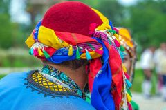 Detail of folk turkish traditional costume. Detail of multi colored folk turkish traditional costume royalty free stock images