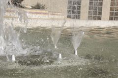 L`eliana municipal park fountain is sprinking water Royalty Free Stock Photo