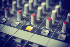 Detail of a music mixer desk Royalty Free Stock Photos
