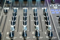 Detail of a music mixer in studio Royalty Free Stock Photos