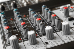 Detail of a music mixer in studio Royalty Free Stock Image