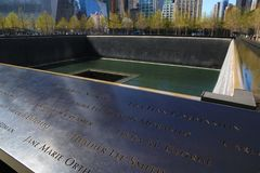 Detail of National September 11 Memorial in NYC royalty free stock photo
