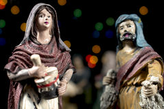 Detail of Nativity scene figurines. Christmas traditions. Stock Photos