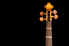 Detail of neck and scroll of violin Royalty Free Stock Image