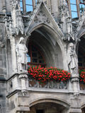 Detail of the Neo-Gothic facade of the New Town Hall building in. The main facade of the town hall is placed toward the plaza, while the back side is adjacent to Stock Photos