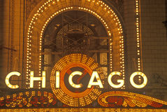 Detail of Neon Sign on Chicago Theater, Chicago, Illinois Stock Image