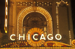Detail of Neon Sign on Chicago Theater, Chicago, Illinois Royalty Free Stock Photos