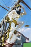 Detail of  Neptune Galleon pirate ship  in Genova , Italy Stock Photos