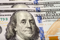 Detail of the new 100 bill Stock Photos