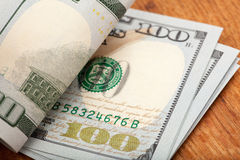 Detail of the new 100 bill Royalty Free Stock Photos