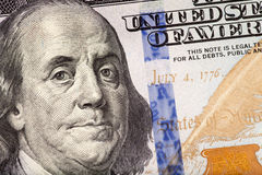 Detail of the new 100 bill. The new U.S. 100 dollar bill Royalty Free Stock Photos