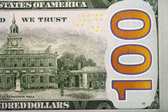 Detail of the new 100 bill Stock Images