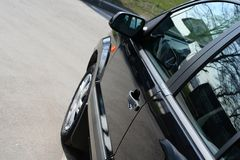 Detail of new car in dealership Royalty Free Stock Photography