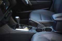 Detail of new modern car interior stock image