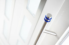 Detail of new and modern,white entrance door. 1 Stock Image
