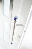 Detail of new and modern,white entrance door. 1 Stock Photography