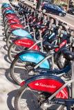Detail of new santander Boris bikes in line Stock Photos