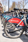 Detail of new santander Boris bikes in line Stock Photography