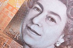 Queen Elizabeth Portrait on New Ten Pound Note Royalty Free Stock Photography