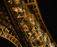 Detail at night of Eiffel Tower. This image represents Detail at night of Eiffel Tower Royalty Free Stock Photos