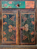 Detail of a nineteenth century Dutch cabinet. Detail of a nineteenth century wooden Dutch handpainted cabinet Royalty Free Stock Image