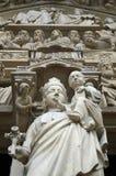 Portal of the Virgin Mary, Notre Dame de Paris, Ile de la Cite, Paris France. Detail on Notre Dame Cathedral. Famous french landmark this picture features The royalty free stock image