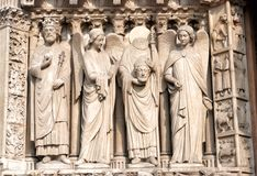 Detail from Notre Dame cathedral in Paris Royalty Free Stock Photos