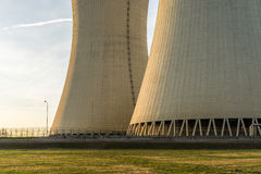 Detail of nuclear power plant. Cooling towers. Royalty Free Stock Photo